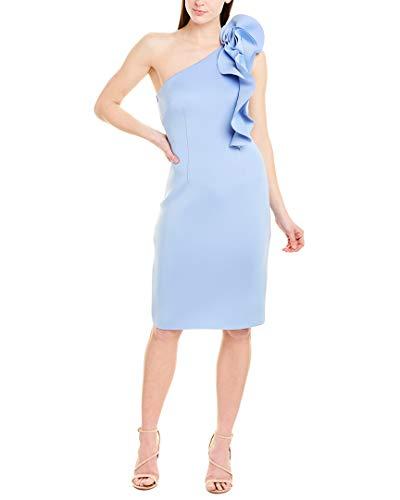 Eliza J Women's One Shoulder Scuba Dress with Ruffles Formal, Light Blue, 18