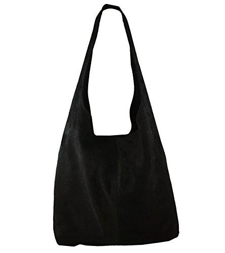 Freyday Damen Ledertasche Shopper Wildleder Handtasche Schultertasche Beuteltasche Metallic look (Schwarz)