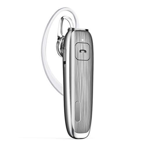 Antaka Bluetooth 4.1 ヘッドセット 片耳 着脱式と耳掛両用 マイク内蔵 ハンズフリー通話可 音量調整可 日本語音声 超大容量バッテリー 30時間通話と音楽再生可 iOS、Android、Windowsシステムに対応可(グレー)