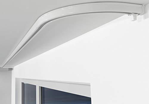Aloha Gardinenschiene aus Aluminium Vorhangschienen, Deckenbefestigung 1-läufig für Schiebevorhänge, Vorhänge (ITU / 1-läufig/Rundbogen Paar/Weiß)