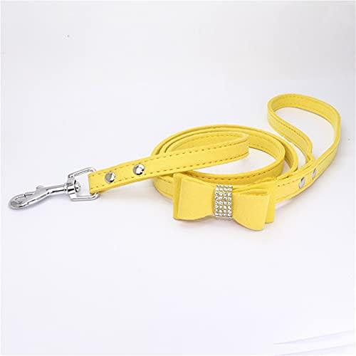 JHGJHG Correa de Cuero de Terciopelo para Perros de Mascotas con Accesorios de Correa de Mascotas de Moda (Color : A Yellow, Size : M)