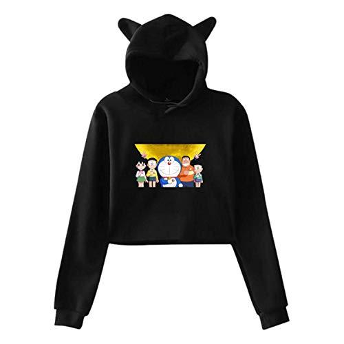 Ahdyr Girlfriend Doraemon Guard Navel Exposure Con Gorra Cat Ears Sudadera Con Capucha Gris