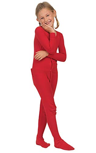 PajamaGram Big Girls Christmas Pajamas - Girls Onesie Pajamas, Dropseat, Red, 12
