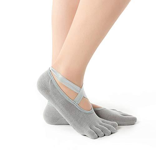 Female Invisible Socks Half/Full Finger Yoga Socks with Anti-Slip Dots Breathable Cotton Sock with Cross Belt for Dancer