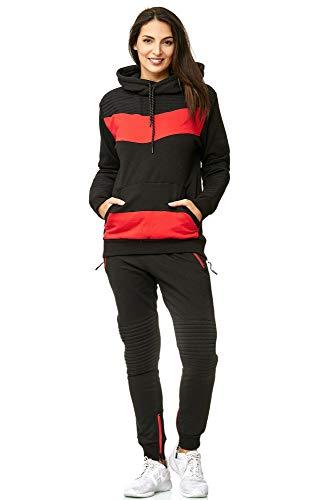 Violento Damen Jogging-Anzug | Leder Anzug 610 (XL-fällt groß aus, Schwarz-Rot)