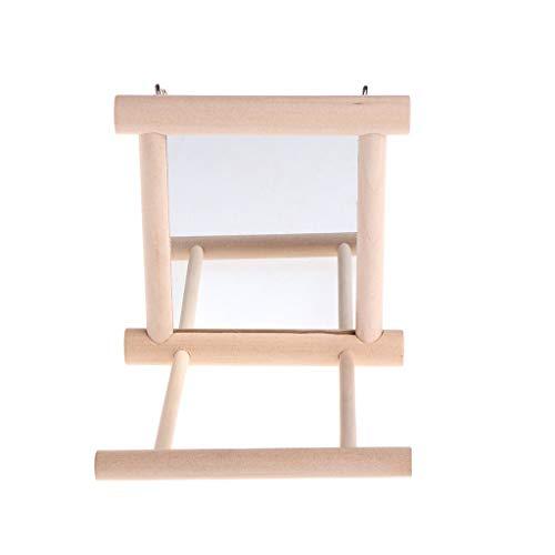 U/K Haustier Vogel Spiegel aus Holz Spielen Spielzeug mit Barsch für Papagei Wellensittich Sittich Nymphensittich Conure Finch Lovebird Premium-Qualität