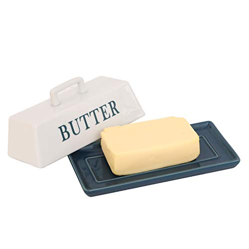 YCOCO Ceramic Butter Dish with Handle Lid,Deluxe Butter Keeper with Cover Design Perfect for East West Butter,Blue