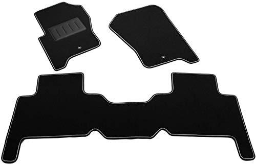 Il Tappeto Auto SPRINT02404 Auto-Fußmatten aus Teppichstoff, Schwarz, rutschfest, verstärkter Rand, zweifarbig, Absatzschoner aus Gummi