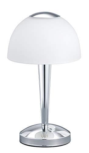 Trio Leuchten LED-Tischleuchte in Chrom, Glas weiß satiniert, Touche-Dimmer mit 3 Helligkeitsstufen, inklusive 1 x 4W LED, Höhe - 29 cm 529990106