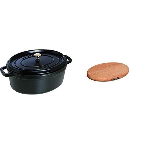 Staub 40509-322-0 Cocotte Ovale en Fonte Mat 33 cm 6,70 L pour 7 Prs, Noir & 40509-375-0 Dessous de Plat Aimante 29...