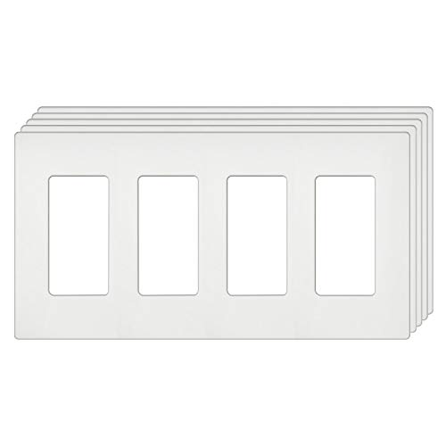[5 Pack] BESTTEN 4-Gang Screwless Wall Plate, USWP4 White Series, Decorator Outlet Cover, for Light Switch, Dimmer, USB, GFCI, Receptacle, H4.69