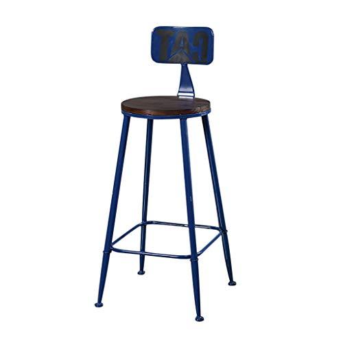 Tabouret de Bar avec Dossier, Tabouret Haut en Fer, siège en Bois Soild, pour la Maison, Tables de Repas, Bureau, comptoir de réception Design rétro 40 × 40 × 105cm