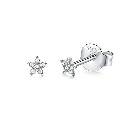 Silver Stud Earrings for Women Girls, Tiny Flower Stud Earrings Small 925 Sterling Silver Hypoallergenic Cubic Zirconia Helix Cartilage Earrings Piercing Sleeper Studs, 3mm/4mm/5mm