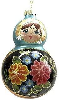 On Holiday Matryoshka Blue and Gold Russian Doll Christmas Tree Ornament