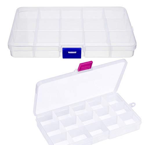 kissral 2pcs Sortimentskasten Kunststoff Klein Sortierboxen für Kleinteile Transparent Aufbewahrungsbox mit Deckle 15 Fächer Einstellbar Sortimentsbox Klein Leer für Schrauben Perlen Ohrringe
