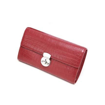 Zaino della borsa della borsa del messaggero della borsa della frizione della pelle di coccodrillo delle signore, lussuoso temperamento prezioso di modo, molto adatto a riunioni di acquisto,Rosso
