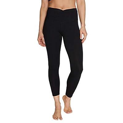 Betsey Johnson Women's Overlap Waistband 7/8 Legging, Black, Large
