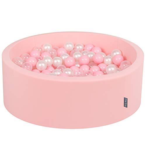 KiddyMoon Bällebad 90X30cm/200 Bälle ∅ 7Cm Bällepool Mit Bunten Bällen Für Mädchen Babys Kinder Rund, Hellpink: Rosa/Perle/Transparent