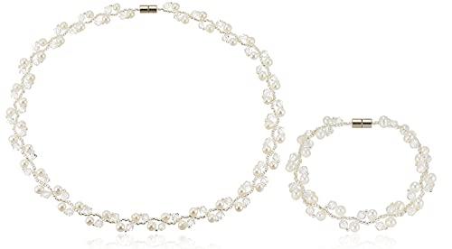 [ピュアパール] pure pearl 淡水パール&ガラスビーズ ネックブレス ホワイト PPYG2-30NB-WH