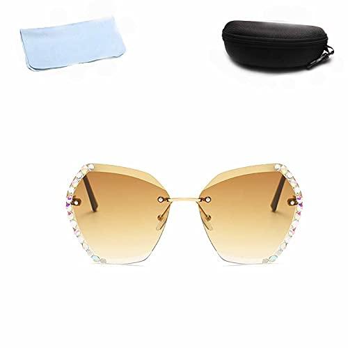 Yagerod Gafas de sol hexagonales de diamante, lentes de sol unisex con lentes degradados con estuche de gafas con gancho (marrón)