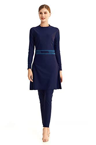 TianMaiGeLun Neuer bescheidener muslimischer Badeanzug für Frauen mit Hijab Full Cover Swimming Beachwear Wetsuits Kostüm (T1, S)