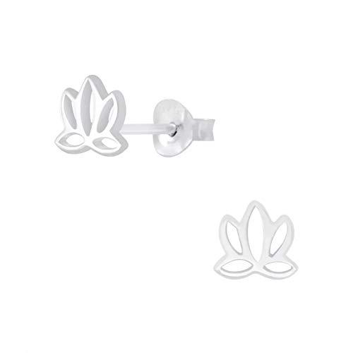 Laimons Pendientes para mujer con flor de loto de loto, 6 mm, plata de ley 925