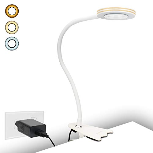 Klemmleuchte, 8W Klemmleuchte Schreibtisch, LED-Leselampe als Nachtischlampe, CeSunlight Buch Klemme, Warmlicht, Tageslicht und Weißlicht 3 Farben, USB-Klemmlampe,10 dimmbare Beleuchtungsmodi (weiß)