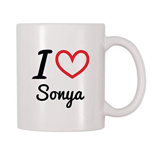Taza de café con nombre personalizado I Love Sonya, 11 onzas