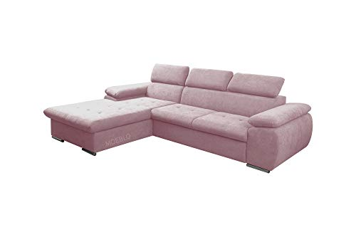 mb-moebel Ecksofa mit Schlaffunktion Eckcouch mit Bettkasten Sofa Couch L-Form Polsterecke NILUX (Rosa, Ecksofa Links)