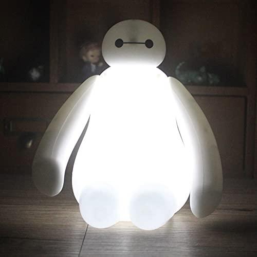TJFGJ Creative New Big Hero Cute Cartoon Baymax LED USB de Carga Luz de Noche Lámpara de Dormitorio Regalo de niños Lámpara de Noche Niños