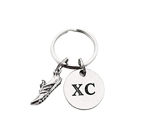 RUN XC Pewter Pendant Key Chain - Pewter Running Shoe Charm and Round Pewter XC Pendant on Round Stainless Steel Key Ring