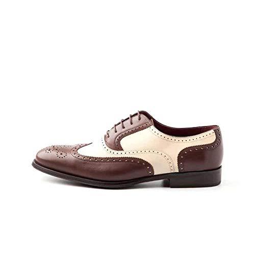 Beatnik Shoes Zapato de Cordones en Piel Bicolor Marrón y Beige para Hombre de Estilo Oxford Brogue Beatnik Holmes Brown & Beige