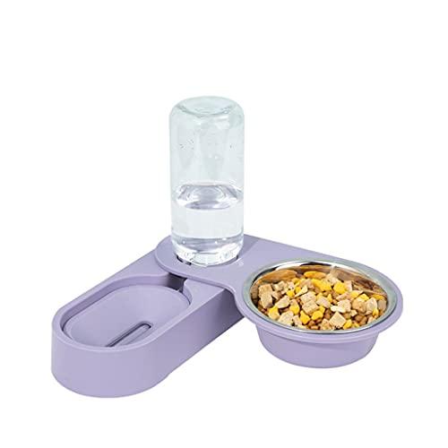 LEPSJGC Cuenco para Gatos, Cuenco para Comida para Perros, Bebedero automático para Gatos, Cuencos Dobles, Plato de alimentación para Cachorros y Gatitos, Cuenco para Mascotas (Color : A)
