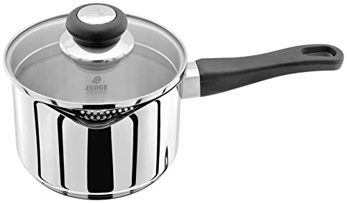 Judge Vista Draining J305A Stainless Steel Large Saucepan with Pouring Lip 16cm 1.5L, Shatterproof Glass Strain & Pour Lid, Induction Ready, Oven Safe, 25 Year Guarantee