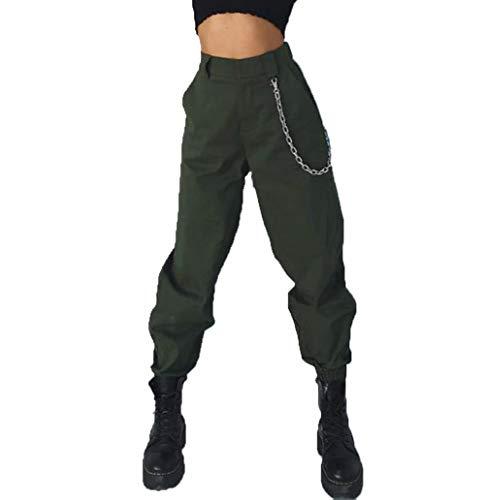 RUEWEY Women High Waist Hip Hop Dance Tapered Cargo Jogger Pants Trousers Harem Baggy Jogging Sweatpants (L, Army Green)