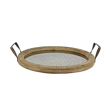 Stonebriar Round Brown Wood Serving Tray with Metal Handles and Distressed Mirror, Rustic Butler Serving Tray, Vintage Centerpiece or Candle Holder, Small