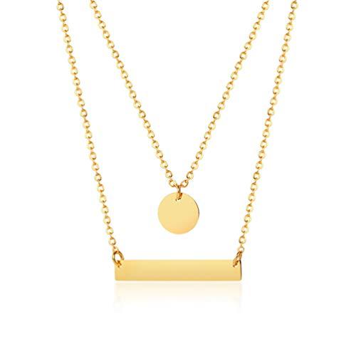 Cupimatch - Gargantilla para Mujer, chapada en Oro, diseño de Barra de Monedas Redonda, Cadena de Acero Inoxidable, Colgante de Varias Capas