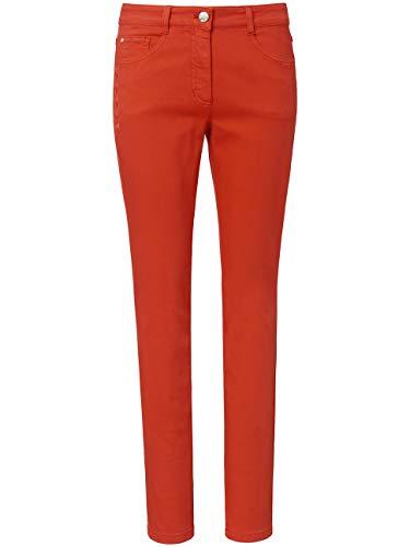 BASLER Damen Jeans in Coloured Denim mit Blätter-Stickerei