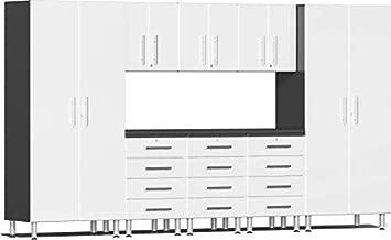 Ulti-MATE UG22091W 9-Piece Garage Cabinet Kit with Channeled Worktop in Starfire White Metallic