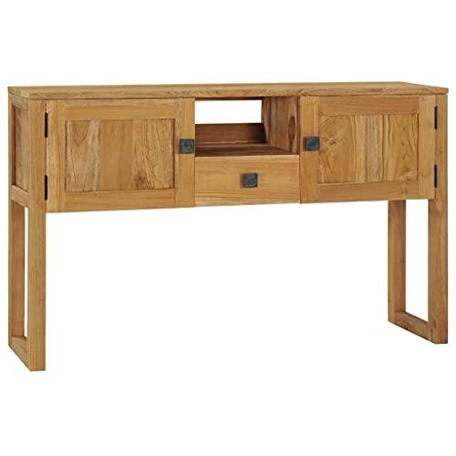 vidaXL Legno Massello di Teak Tavolo Consolle Tavolino Alto Tavolo da Ingresso Tavolinetto per Corridoio Mobili Arredo Arredamento 120x32x75 cm