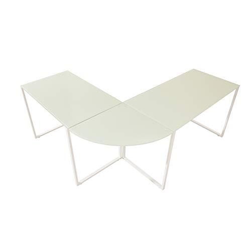 Riess Ambiente Eck-Schreibtisch Big Deal 180cm mattweiß Glas Bürotisch Tisch Schreibtisch Ecktisch