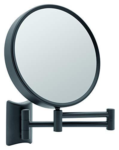 Libaro Kosmetikspiegel Imola 360° Schminkspiegel mit Wandmontage, Rasierspiegel doppelseitig mit Vergrößerung (Schwarz (3x/7x))
