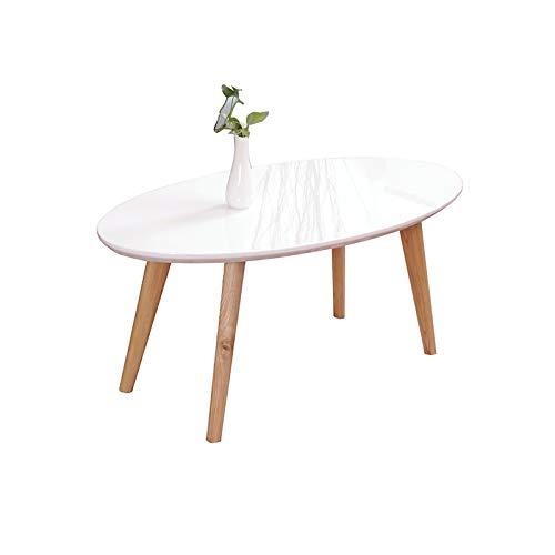 BZ-ZK Mesa de café blanca nórdica, mesa de comedor, 100 x 52 x 45 cm, mesa auxiliar gruesa y lisa (tamaño: 100 x 52 x 45 cm, color: blanco)