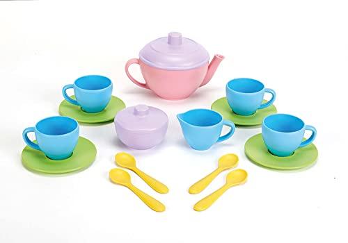 Green Toys Tea Set - BPA Free, Phthalates Free Play Toys for Gross Motor, Fine Skills Development. Kitchen Toys
