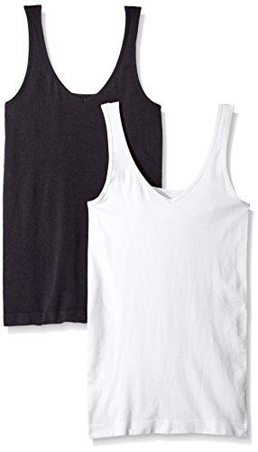 ELLEN TRACY Women's Seamless Reversible 2 Pack Camisole, Black/White, L