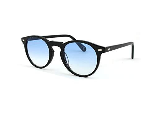 SUN LOVERS Sonnenbrille Unisex: runde Brillenfassung aus einer Damenbrille für Herren aus Acetat (schwarz/hellblau)
