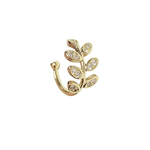 LUOSI Vintage Gold Star Luna Hojas No-Piercing Ear Clip Pendientes para Mujeres Hombres Punk Fake Cartílago Ear Partido Regalos Party (Metal Color : Ear clip1)