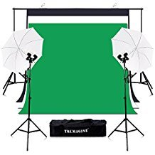 TRUMAGINE Photography 6.5x10FT Chromakey Green Screen Backdrops Stand Umbrella Lighting Kit with 135Wx4 Lights Background Support System