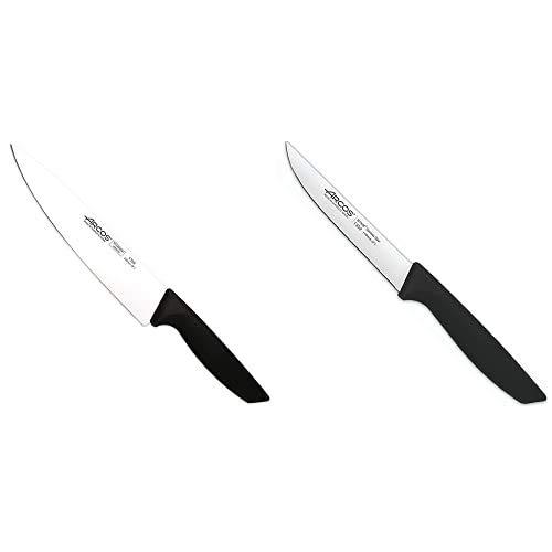 Arcos Serie Niza, Cuchillo Cocinero, Hoja De 200 Mm, Mango Color Negro + Serie Niza, Cuchillo Para Verduras, Hoja De 85 Mm, Mango Color Negro