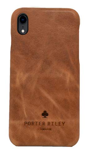 Porter Riley - Lederhülle für iPhone X/iPhone XS. Premium Ultra Dünn Echtleder Cover/Ledertasche/Backcover kompatibel mit iPhone X/XS (Hellbraun)